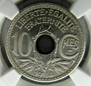 France 10 Centimes 1914 Piefort Essai In Nickel - Ngc Ms 67. Excessively Rare