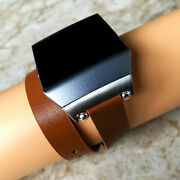 Brown Double Wrap Soft Leather Band Strap Bracelet For Fitbit Ionic Smartwatch