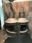 Vintage Nautical Copper Port And Starboard Kerosene/alcohol/oil Lamps.1940s.wow