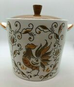 Lefton Rooster Pattern Cookie Jar Mid 50's Very Rare Orig Sticker