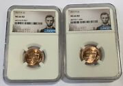 2017 P And D Cent Ngc Ms66 Union Shield 2 Coin Lincoln Label Set - You Get Both