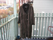 Bally Suede Leather Fur Long Coat Dark Brown Chocolate Size Us 14 Italy 48