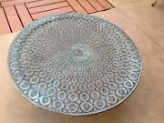 Vintage Old Middle Eastern Hammered Copper Serving Tray Or Table Top 40 Dia