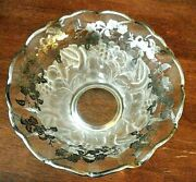 Vintage Paden City Frosted Floral Footed Bowl With Silver Floral Overlay 10