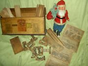 Rare Antique Wood, Milton Bradley Railway Station And Reindeer Circus Building Toy