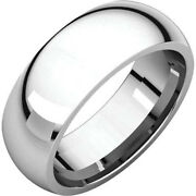 7mm Solid Platinum Plain Dome Half Round Comfort Fit Wedding Band Ring All Sizes