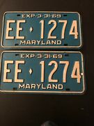 """Antique Maryland Plates """"1969 Vintage Tags"""" Ee 1274"""