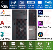 Cad Solidworks Video Photo Editing Workstation 64gb 8c Xeon Quadro Computer Nvme
