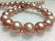 Aaaa Natural Round 1713-15mm Real South Sea Pink Gold Purple Pearl Necklace 14k