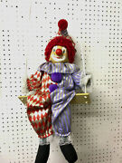 Clown Red And White Marionette Clown String Puppet On A Swing Porcelain Face