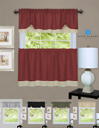 Shabby Farmhouse Flax Linen Kitchen Curtain Tier And Valance Set - Assorted Colors