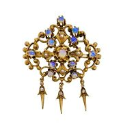 Victorian Style Opal Diamond Pin / Pendant With Drops