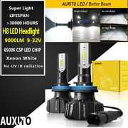Auxito H11 H8 Led Headlight Bulbs 9000lm 6000k Cool White Light Low Beam Kit B7