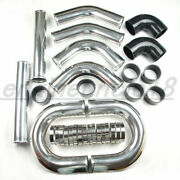 Us Universal 3.5 Inch Aluminum Turbo Intercooler Piping Kit Pipes Clamp Coupler