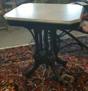 Antique Victorian Walnut Parlor Table With Marble Top 24x18x 28 Pick Up Only