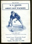 1938 Authentic Nfl Championship Game Program Packers V Giants Ex Rare 56169