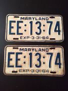 """Antique Maryland Plates """"1964 Vintage Tags"""" Ee1374"""