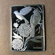 Franklin Mint Indiana State Bird And Flower 1.25 Oz Sterling Silver Art Bar