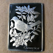 Franklin Mint Connecticut State Bird And Flower 1.25 Oz Sterling Silver Art Bar