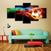 Multi Panel Print Fire Soccer Ball Canvas Wall Art Goal Shot 5 Piece World Cup