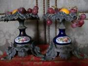 Pair Metal Flow Blue 19th Century Serving Display Stand Hand- Painted