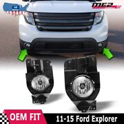 Fits 11-15 Ford Explorer Pair Fog Lights Lamp Clear Lens Oe Bumper Replacement