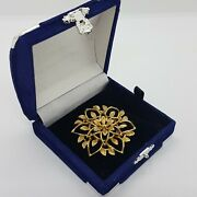 Vintage Sarah Coventry Brooch Floral Leaf Gold Tone Geometric Gb Made In Uk