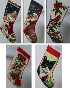 Hand Embroidered Woolwork Christmas Stockings Santacola Cat Cardinal Poinsetti