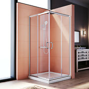 Elegant 36 X 36 X 72 Double Sliding Shower Enclosure Door With Base In Chrome