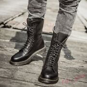 Punk Retro Mens Cow Leather Desert Military High Top Mid-calf Boot Lace-up Shoes