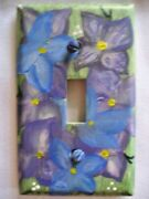Single Toggle Blue Andpurple Floral Theme Wall Switch Cover Switchplate Cover