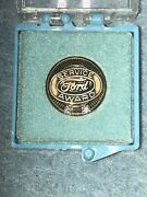 1940s 50s Ford Factory Dealer Service Pin 10k Gold 2 Diamond Chip Deluxe Coupe