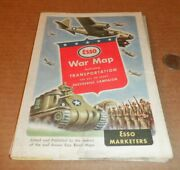 Wwii Esso War Map Featuring Transportation Tank Bomber Gas Oil Road U.s.