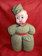 Composition Googly Goo Eye Soldier Doll 15 With Cloth Body Original