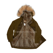 Brand New With Tags Authentic Menandrsquos Army Green Rabbit Fur Hooded Parka