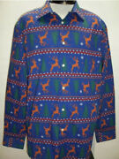 North Pole Trading Co. Blue Reindeer Long Sleeve Holiday Shirt Sz Xl Msrp 36