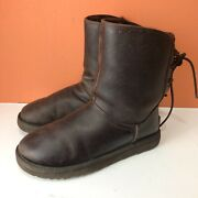 Uggs Mariana Boots Size 8 Dark Brown Leather 1008426 Corset Tie Back Women's