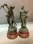 Pair Of Bronze Moissonneuse And Moissonneur Figurines By Aug. Moreau