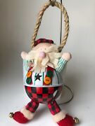 Roly Poly Jingle Bell Santa Metal Cloth Rope And Glass Marble Christmas Ornament
