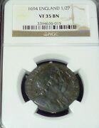 1694 Great Britain 1/2 Penny Km 475.3 - Amazing Condition Ngc Vf35