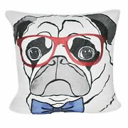 Loom And Mill 22 X 22 Decorative Pug Pooch Pillow