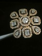 Solid 750 Stamped 18k Gold 1.66 Tcw Round Baguette Cut Diamonds Engagement Ring