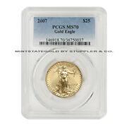 2007 25 Eagle Pcgs Ms70 1/2 Ounce American Gold Bullion Uncirculated Coin 22kt