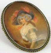 Antique Sterling Brooch Miniature Portrait Victorian Woman And Cane Signed Walter