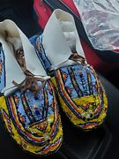 Native American Womens Fully Beaded Moccasins Size 8.5