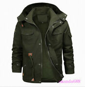 Mens Winter Thick Warm Fur Lined Hooded Jacket Zipper Bomber Military Parka Coat