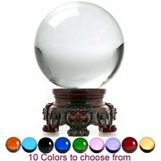 Crystal Ball Sphere For Feng Shui Meditation Decor With Red Lion Stand