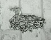 Loon With Baby Chick Christmas Ornament Silver Colored Bow Holly And Berries