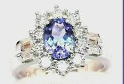 Ladyand039s 2.35ct G Color Tanzanite Oval Cut Baguette Diamond Ring 14k White Gold
