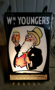 Vintage Wm Youngerand039s White Bull 2 Sided Hanging Sign Very Good Condition Light